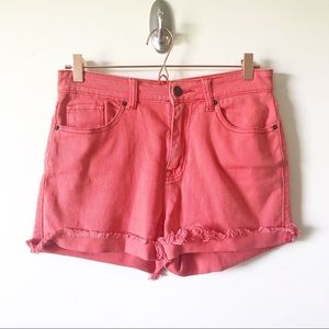 BDG High Rise Coral Cut Off Shorts Size 28